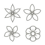 Jasmine Flower Icons Set on White Background. Vector Royalty Free Stock Images