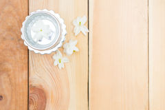 Jasmine flower on silver tray Royalty Free Stock Image