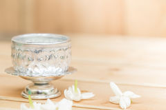 Jasmine flower on silver tray Royalty Free Stock Photos