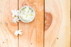 Jasmine flower on silver tray Stock Images