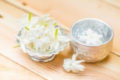 Jasmine flower on silver tray Royalty Free Stock Photo