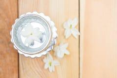 Jasmine flower on silver tray Stock Photo