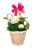 Jasmine flowers in basket gift for lover isolated Royalty Free Stock Image