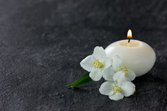 Jasmine flowers and burning candles Royalty Free Stock Photo