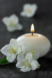 Jasmine flowers and burning candles Stock Images