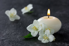 Jasmine flowers and burning candles Royalty Free Stock Image