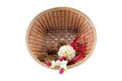 Jasmine garland in baskets isolated on white background Royalty Free Stock Photography