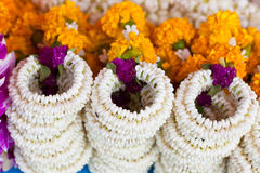 Jasmine garland that called Malai in Thai. Thai traditional jasmine garland that called Malai in Thai use for worship to the buddha Royalty Free Stock Image