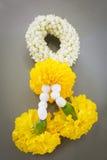 Jasmine garland flowers. Jasmine garland And marigold flowers Royalty Free Stock Photography