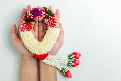 Jasmine garland. Handmade , Sign of Mother day in Thailand Royalty Free Stock Image