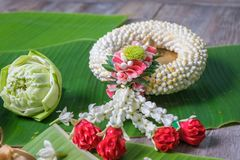 Jasmine Garland. Northern Thai Style and Lotus with banana leaf background Stock Image
