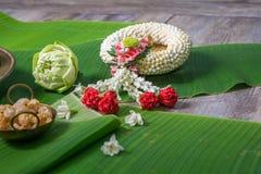 Jasmine Garland Northern Thai Style. With banana leaf background Royalty Free Stock Photos