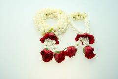 Jasmine garland and roses Stock Image