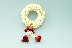 Jasmine garland and roses Royalty Free Stock Photos