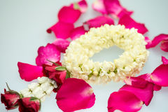Jasmine garland and roses. For Mother day Royalty Free Stock Images