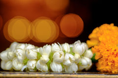 Jasmine garland. Soft focus with Jasmine garland of flowers in Thai Traditional Style Stock Photography
