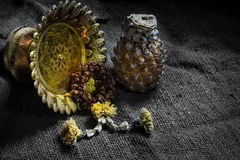 Jasmine Garland Withered Thai Style And Pineapple And Phan Falling On Art Dark Background. Royalty Free Stock Image