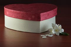 Jasmine and gift box on dark table. Jasmine and gift box on dark wooden table Stock Images