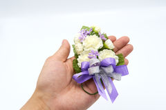 Jasmine handmade flowers made from handmade. On the palm of the hand, the meaning is the representation of the love of the baby, b. Ut the mother or loved ones Royalty Free Stock Photos
