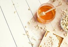 Jasmine honey with honeycomb Royalty Free Stock Images