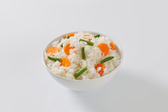 Jasmine rice with carrot and string beans Stock Photos