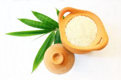 Jasmine rice in clay pot Stock Images