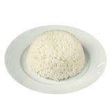 Jasmine Rice cuit à la vapeur par plaine d'isolement sur le blanc photographie stock libre de droits