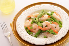 Jasmine rice with prawns, peas and asparagus Royalty Free Stock Photo