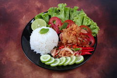 Jasmine rice with spicy fried chicken salad Khao Yum Kai Zap in Thai. As rice toppep spicy chicken salad,chili,tomato,red onion,roasted rice,dried chili Stock Image