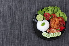 Jasmine rice with spicy fried chicken salad (Khao Yum Kai Zap in Thai).Have text space on left. Jasmine rice with spicy fried chicken salad (Khao Yum Kai Zap in Stock Photo