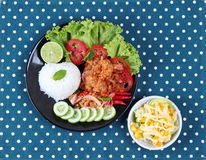 Jasmine rice with spicy fried chicken salad Khao Yum Kai Zap in Thai served mixed vegetables salad. Jasmine rice with spicy fried chicken salad Khao Yum Kai Zap Royalty Free Stock Images