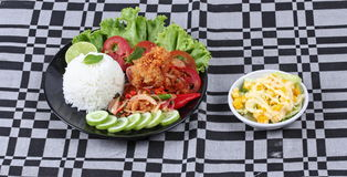 Jasmine rice with spicy fried chicken salad (Khao Yum Kai Zap in Thai) served mixed vegetales salad. Jasmine rice with spicy fried chicken salad (Khao Yum Kai Stock Images