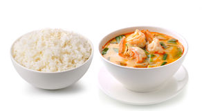 Jasmine Rice and Tom Yam Kung Stock Photo