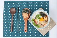 Jasmine rice is topped soft boil eggs and fried pork in Japanese style  as 'Oyakodon' Royalty Free Stock Image