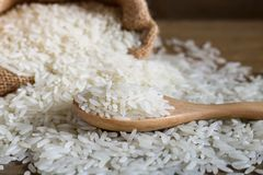 Jasmine rice in wooden spoon on rustic wood background. Jasmine rice, also known as Thai fragrant rice or Khoa Hom Mali. Jasmine rice is delicious, nutty taste royalty free stock image