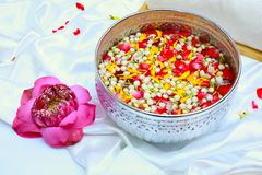 Songkran festival in Thailand. Jasmine roses and lotus, Songkran festival in Thailand Concept Stock Photography