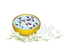 Jasmine and Roses in Water Bowl for Songkran Festi Royalty Free Stock Images