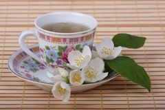 Jasmine tea. Cup of tea with jasmine flowers Royalty Free Stock Images