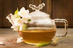 Jasmine tea in a glass tea pot on dark wooden background Stock Images