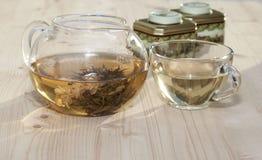 Jasmine tea . Jasmine tea in a glass teapot stock image
