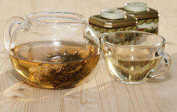 Jasmine tea . Jasmine tea in a glass teapot and  a cup Royalty Free Stock Photo