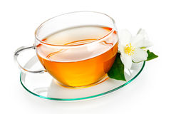 Jasmine Tea. With jasmine herb flower on white background stock image