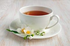 Jasmine tea. With jasmine herb flower on wooden table stock image