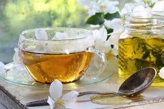 Jasmine tea with honey. On white wooden background Royalty Free Stock Photo
