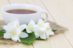 jasmine tea and jasmine flowers Royalty Free Stock Photo