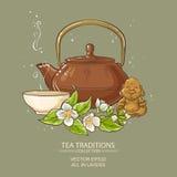 Jasmine tea vector illustration Stock Image
