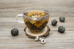 Jasmine tea on a wooden background Royalty Free Stock Photo