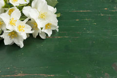 Jasmine white flower in old wooden table Royalty Free Stock Images