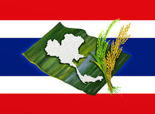 JasminRice med den Thailand flaggan Arkivbilder