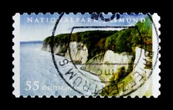 Jasmund National Park, National Parks and Nature Reserves serie, circa 2012. MOSCOW, RUSSIA - OCTOBER 21, 2017: A stamp printed in German Federal Republic shows Royalty Free Stock Photos